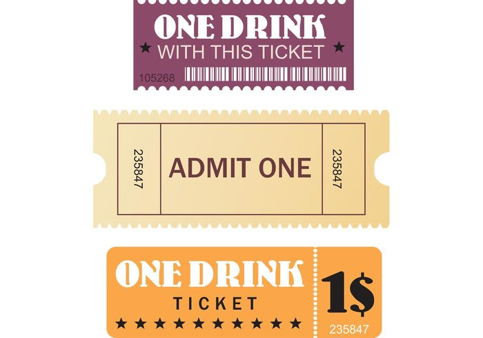vector tickets ticket theater movie free premium film festival event entertainment drink coupon cinema celebrate admit admission