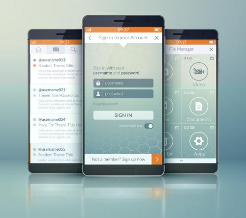 Mobile Social App Interface Design Vector 03 Welovesolo