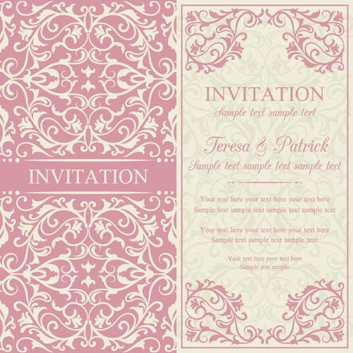 Vintage ornate holiday invitation cards vector 02 WeLoveSoLo