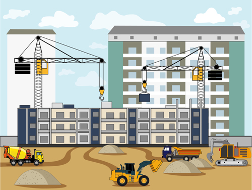 Flat Construction Building Background