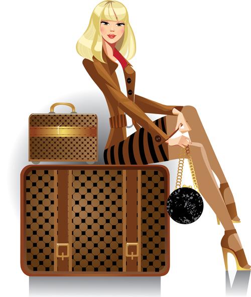 Женщина и сумочка рисунок