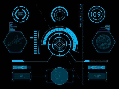 Futuristic Hi Tech Background Vector: Futuristic HUD Interface Tech Background Vector 01