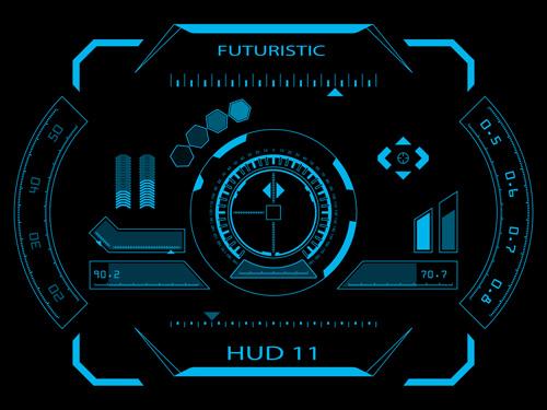 tech interface hud futuristic background