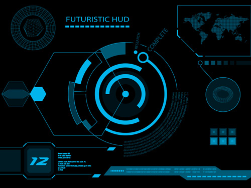 Futuristic Hi Tech Background Vector: Futuristic HUD Interface Tech Background Vector 03
