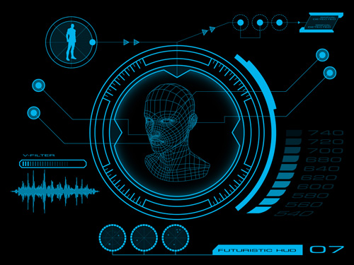 Futuristic Hi Tech Background Vector: Futuristic HUD Interface Tech Background Vector 05