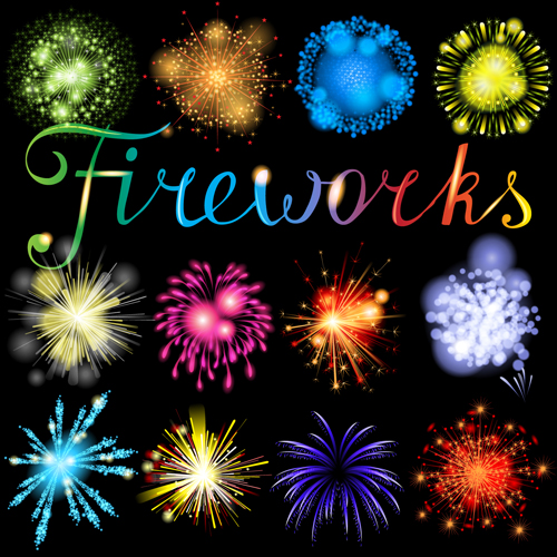 vector graphics red background realistic Fireworks colored background vector background