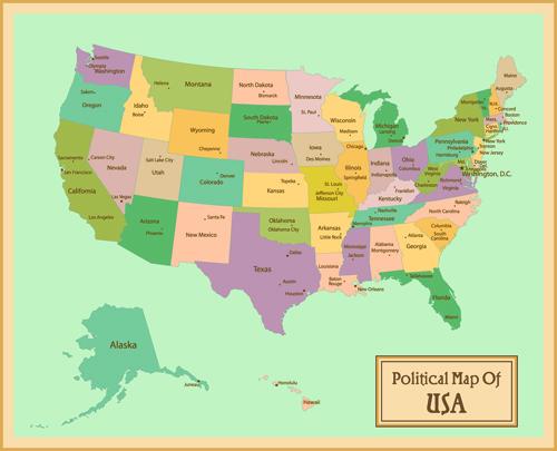 Vintage Style political maps