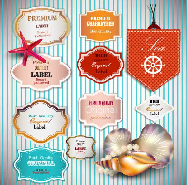 seashells pearls label
