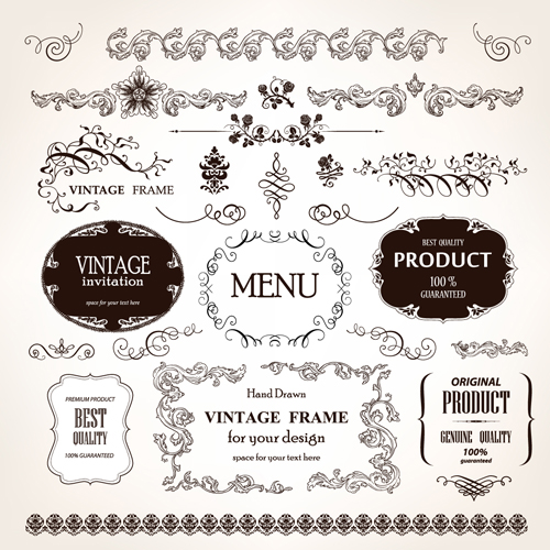 Set of vintage design elements vector borders 03 welovesolo vintage elements element borders border stopboris Choice Image