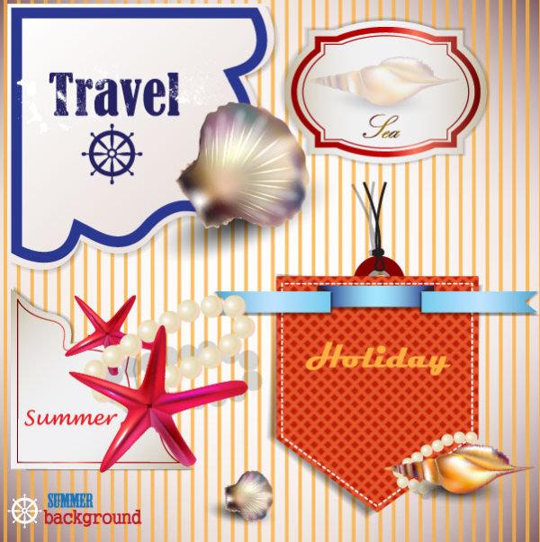 seashells pearls label elements element