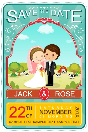 Cute cartoon style wedding invitation card vector 02 welovesolo wedding invitation cute cartoon cartoon card vector stopboris Gallery