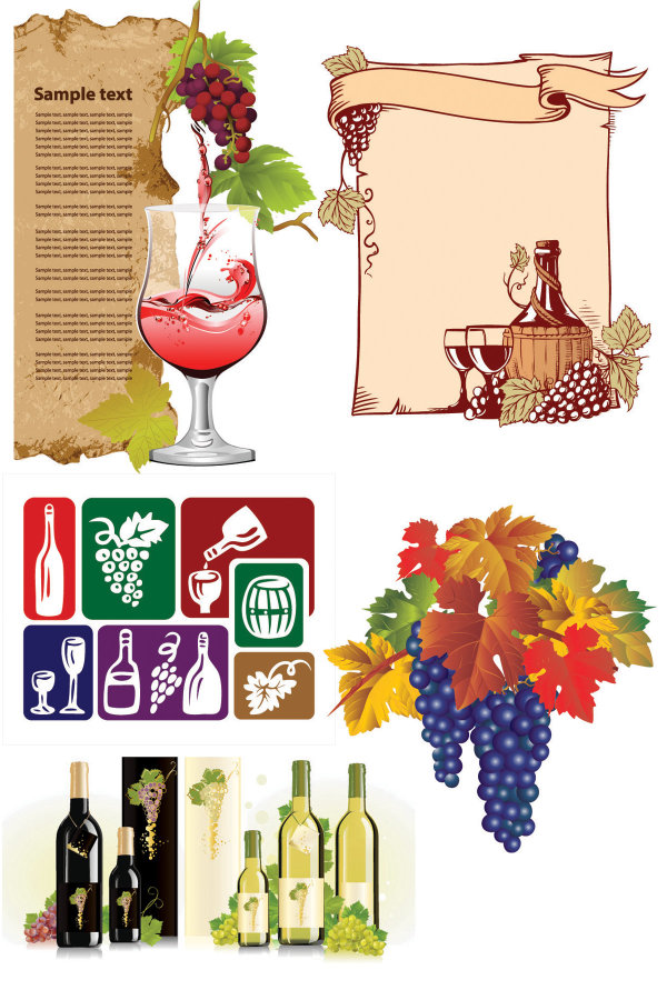 wine bottle wine The leaves the album list icon grapes goblet