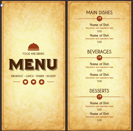 vectors free download modern restaurant menu cover and list vector 07
