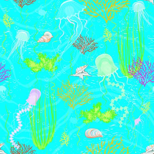 small animals seamless pattern vector marine