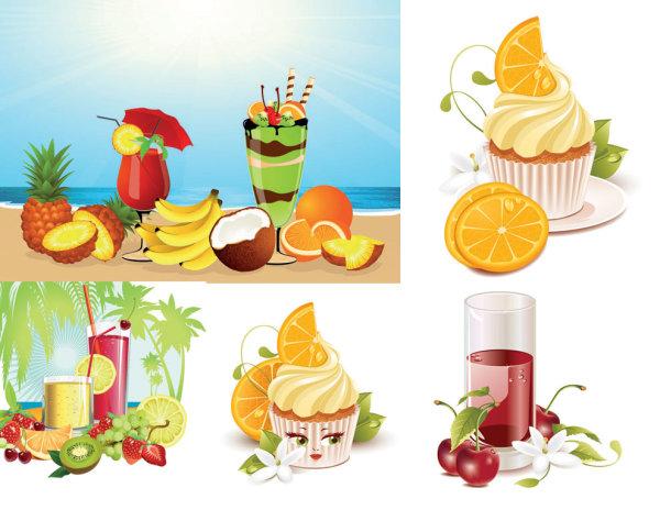 silhouette pineapple orange lovely lemon kiwi ice cream green leaves grape egg flower drinks Diet cold drinks coconut trees cherries cartoon banana
