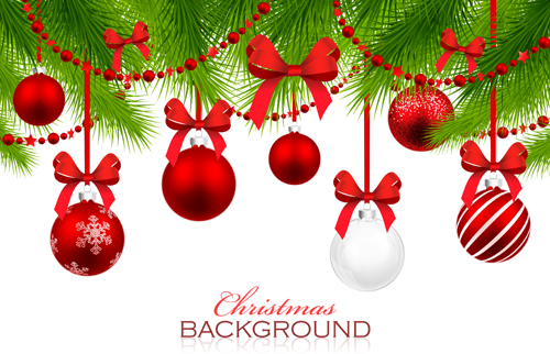 red with white christmas decorations background vector 01 - Images For Christmas Decorations