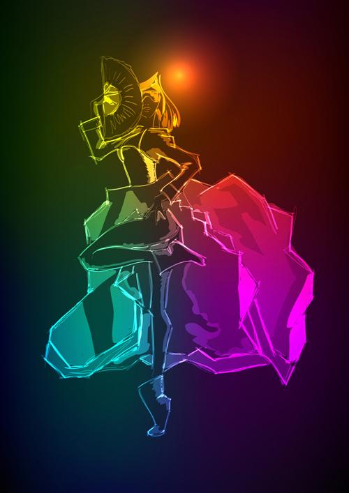 woman stylish neon