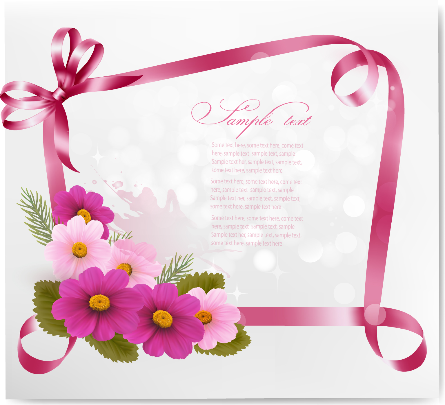 Ribbon with flower greeting card vector 02 welovesolo ribbon greeting flower card vector card m4hsunfo