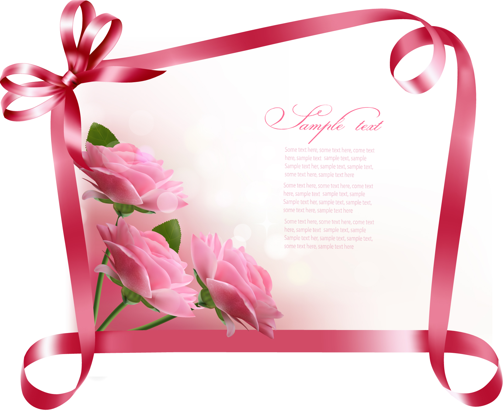 Ribbon with flower Greeting card vector 04 WeLoveSoLo – Sample of Birthday Card