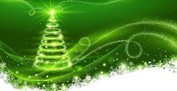 Green background with dream christmas tree vector - WeLoveSoLo