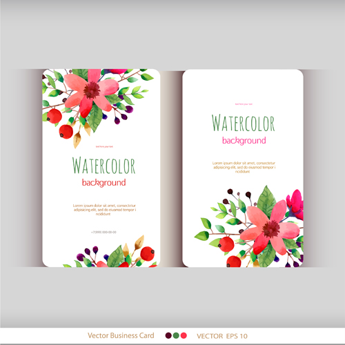 Beautiful watercolor flower business cards vector set 04 welovesolo watercolor flower business cards beautiful reheart Images