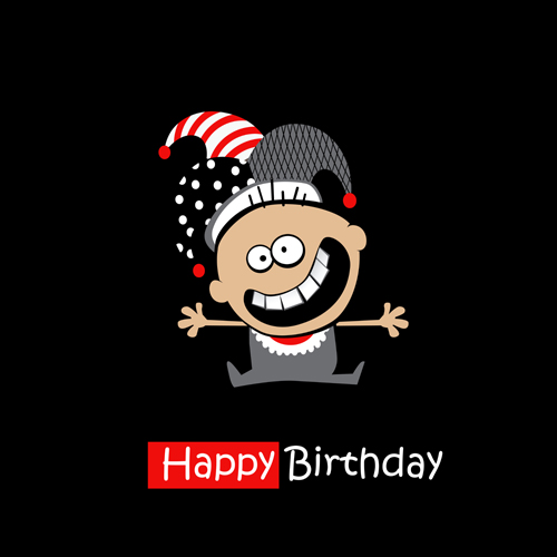 Funny Cartoon Character With Birthday Cards Set Vector 09 Welovesolo