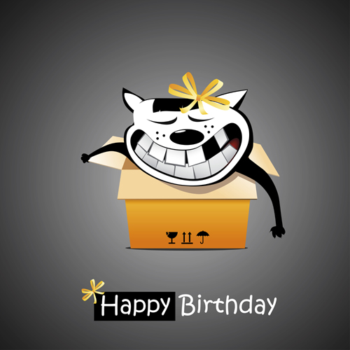 Funny Cartoon Character With Birthday Cards Set Vector 22