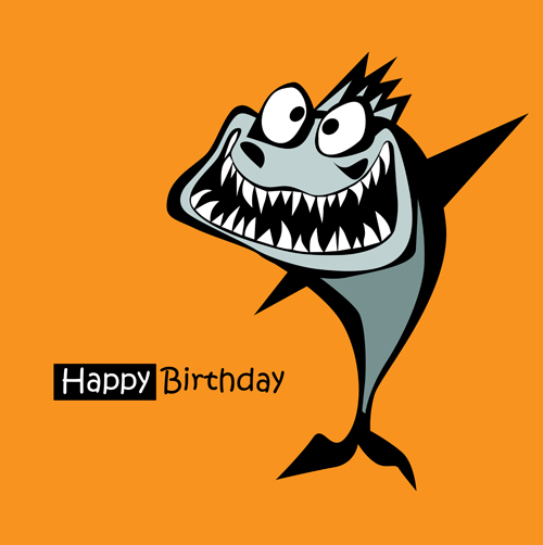 Funny Cartoon Character With Birthday Cards Set Vector 24
