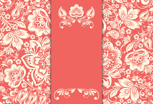 ... background vector 03 Vintage floral with pink background vector 03