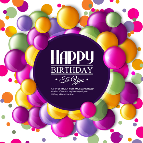 Birthday card with colored balloons vector 02 WeLoveSoLo – Vector Birthday Card