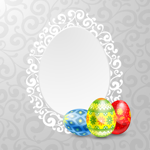 Easter egg and lace frame vector material - WeLoveSoLo