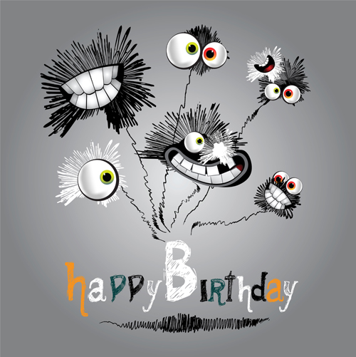 Funny Cartoon Character With Birthday Cards Set Vector 01