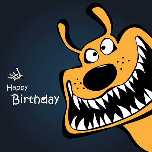 Funny Cartoon Character With Birthday Cards Set Vector 05 Welovesolo