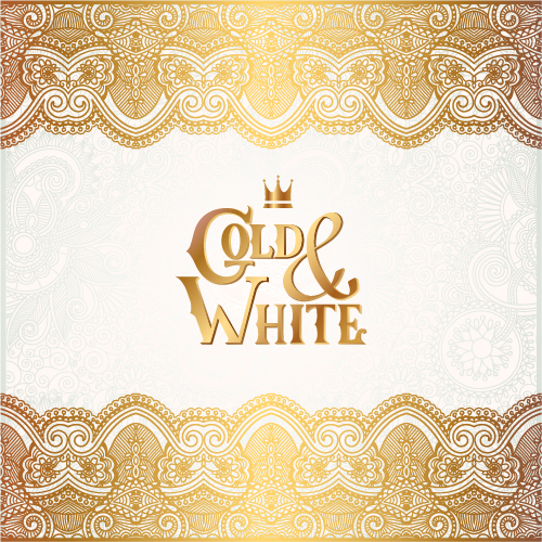 Shepherd Gold On Blue Silhouette Ornament: Gold With White Floral Ornaments Background Vector