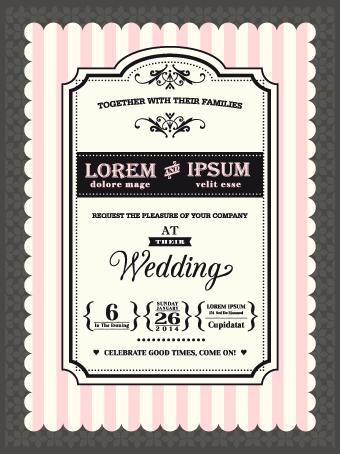 Retro wedding invitations cards design vector 02 WeLoveSoLo