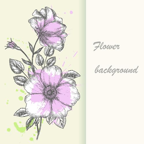 Retro hand drawn flowers background design 01 welovesolo retro hand drawn flowers background design 01 mightylinksfo