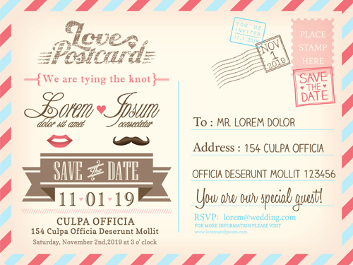 Wedding Invitations Postcard Design Graphic Vector 03 Welovesolo