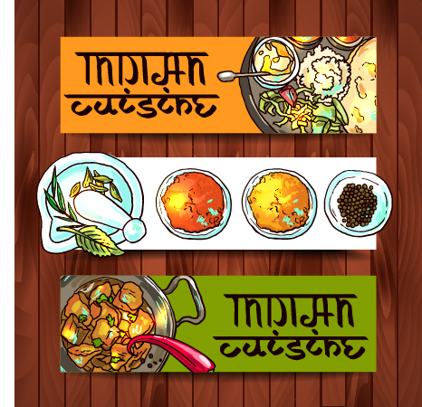 Hand Drawing Indian Food Banner Vector Welovesolo
