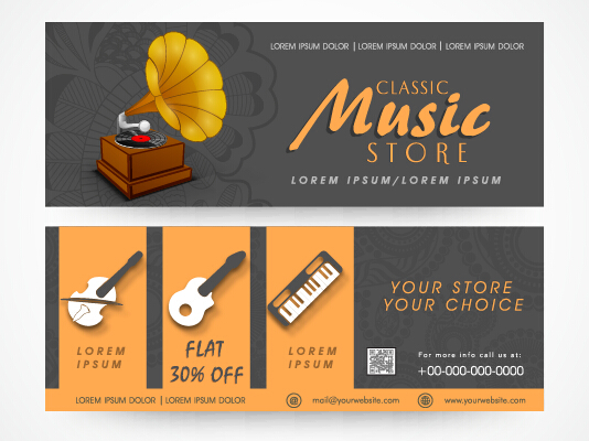 Creative Music Banners Set Vector 01