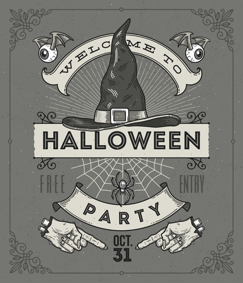 Vintage halloween party vector poster set 05