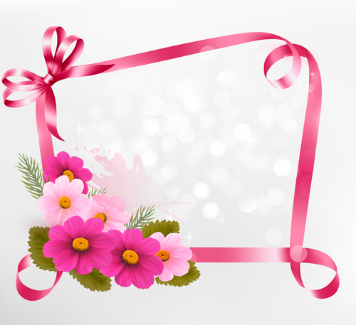 Flower with ribbon frame vector - WeLoveSoLo