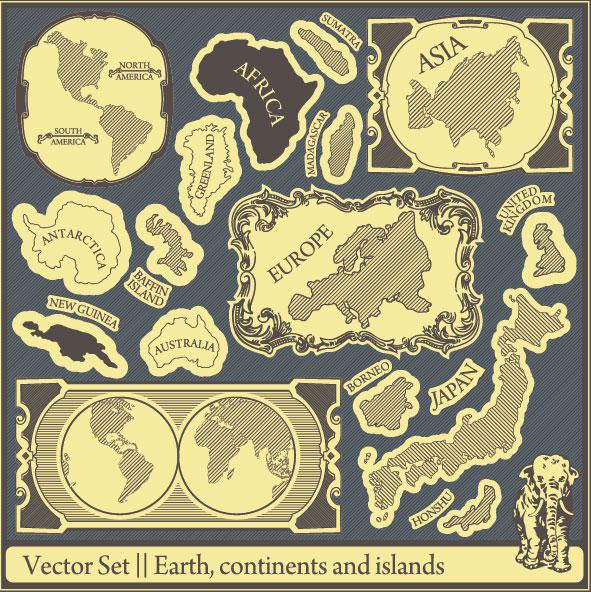 Retro font labels label islands earth continents