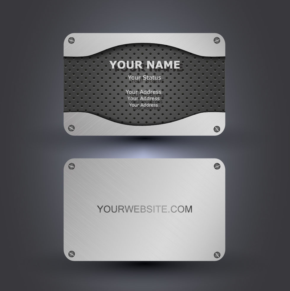 Metallic style business cards vectors 02 - WeLoveSoLo