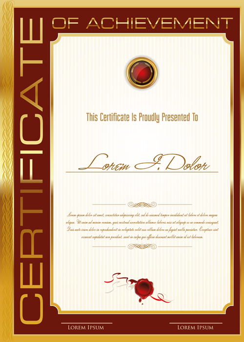 golden frame certificate template vector 01