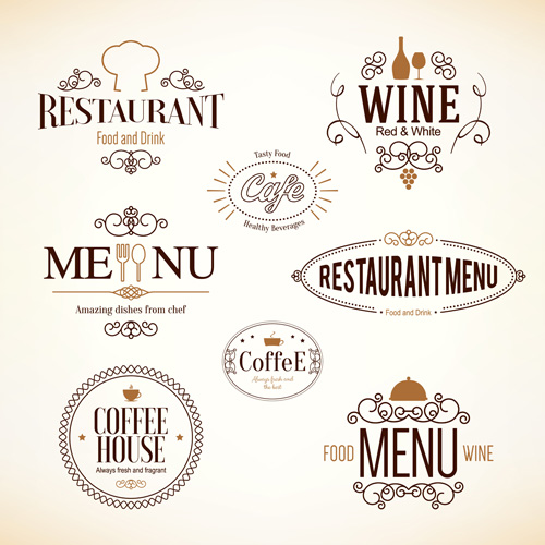 Restaurant food menu logos vector design welovesolo