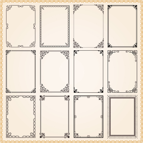 Vintage frames ornaments vector set 01 - WeLoveSoLo