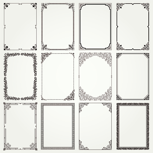 Vintage frames ornaments vector set 02 - WeLoveSoLo