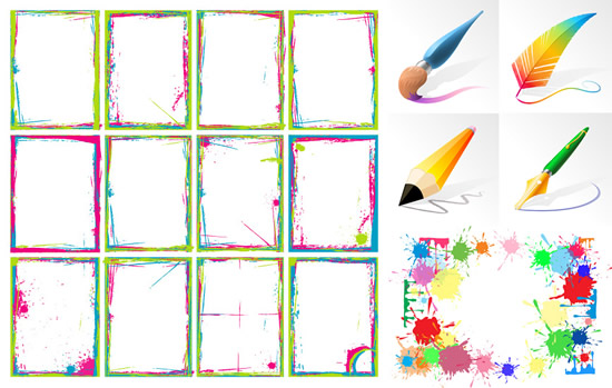 Brush and ink and color frame vector - WeLoveSoLo