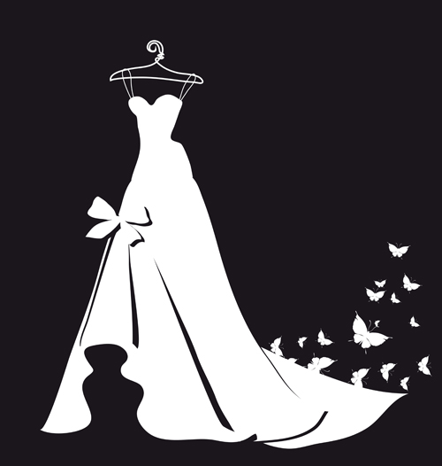 Beautiful Wedding Dress Silhouette Design Vector 05