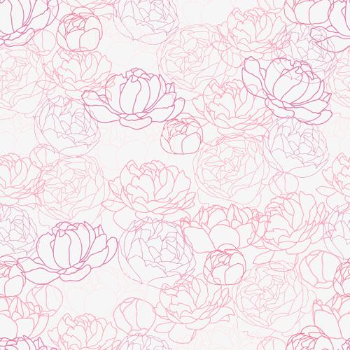 seamless peonies pattern Hand drawing drawing